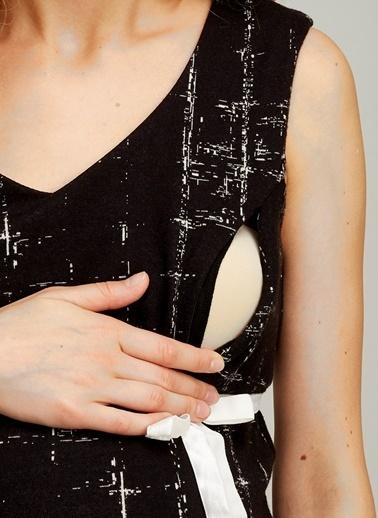 Hooyo Emzirme Özellikli Volanlı Hamile Elbisesi Siyah